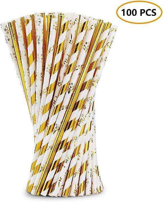 Nicedeal Pajitas de Papel Biodegradable, Golden, 19.6cm x 0.6cm ...