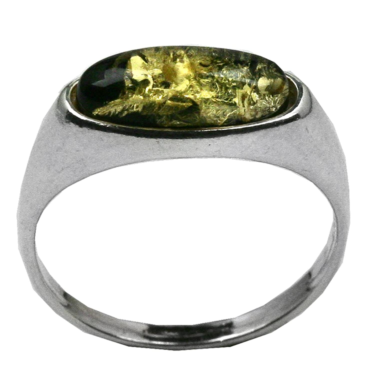 Green Amber and Sterling Silver Marquise-shaped Tiny Ring