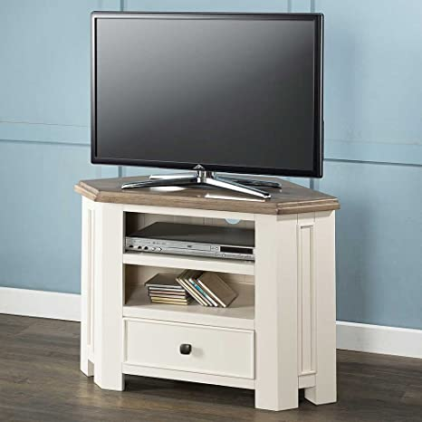 Portland Pino Mueble de Esquina para televisor Pintado Color Blanco Antiguo con Acabado de Fresno Sundried Top: Amazon.es: Hogar