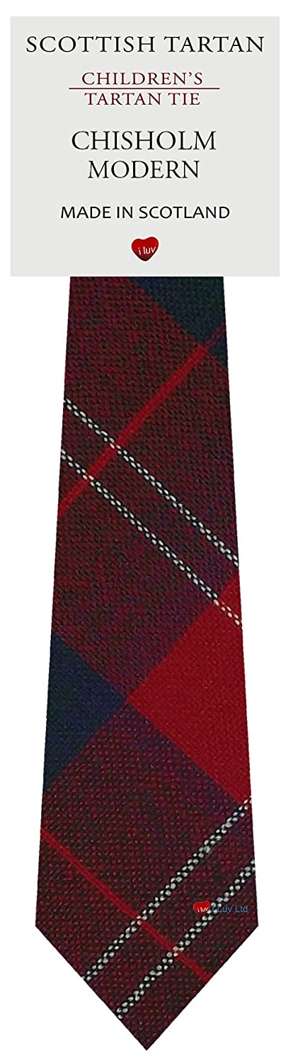 Boys Clan Tie All Wool Woven in Scotland Chisholm Modern Tartan I Luv Ltd