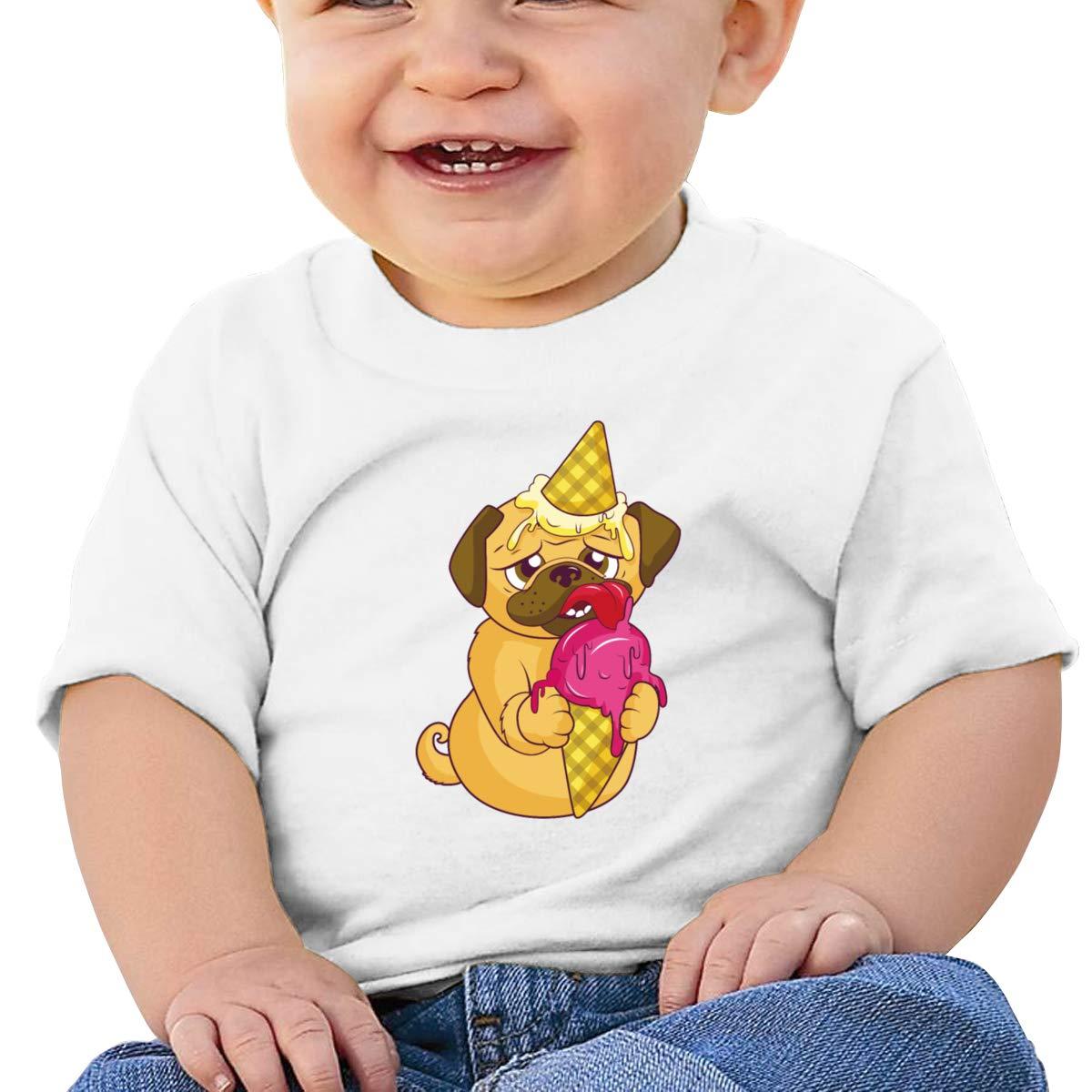 Pug Dog Ice Cream Short-Sleeves Shirt Baby Boy