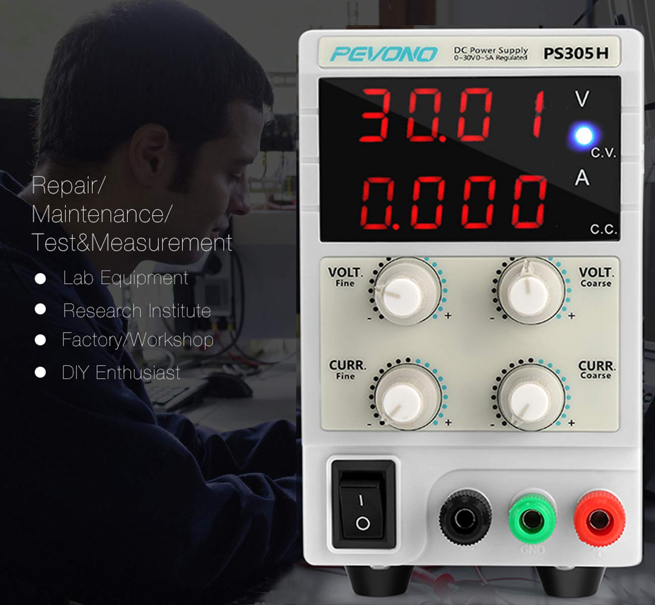 Best DC Bench Power Supply, Pevono PS305H 30V/5A 4 Digital LED Desktop Switching Variable Power Supply Voltage&Current Regulated Supply Power Source For Lab Repair,Electronic Tester, Power Calculator by Pevono (Image #6)