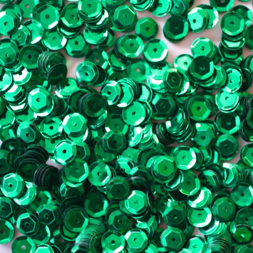6mm CUP SEQUINS ~ GREEN Metallic ~ Loose paillette sequins for embroidery, applique, arts, crafts, bridal wear and embellishment. Made in USA