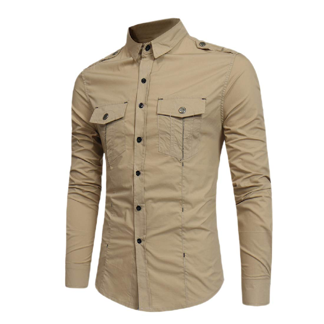 Highisa Mens Slim Buttoned Long-Sleeve Cotton Pocket Relaxed Western Shirt