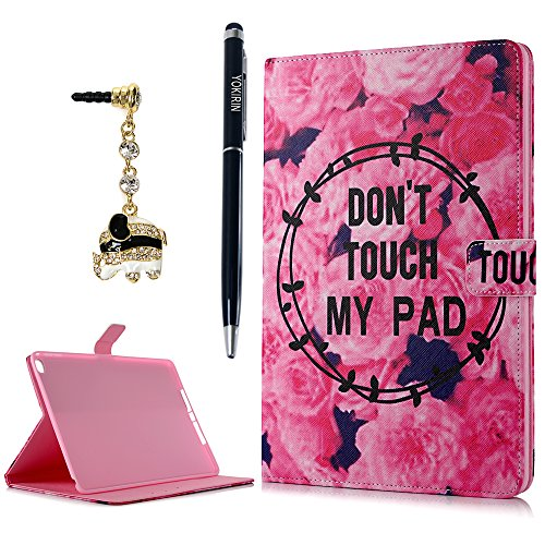 iPad Air 2 Case, YOKIRIN Flip Folio Pretty Rose with Card Slots [Magnetic Closure] Stand Smart Cover Full Body Protective Synthetic PU Leather Cover Skin for iPad Air 2 / iPad 6th Generation