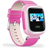 Witmoving Childrens Smart Watch GPS Tracker Kids Wrist Watch Phone with Sim Card Slot Anti-lost SOS Parent Control By IOS Android Smartphone (Pink)