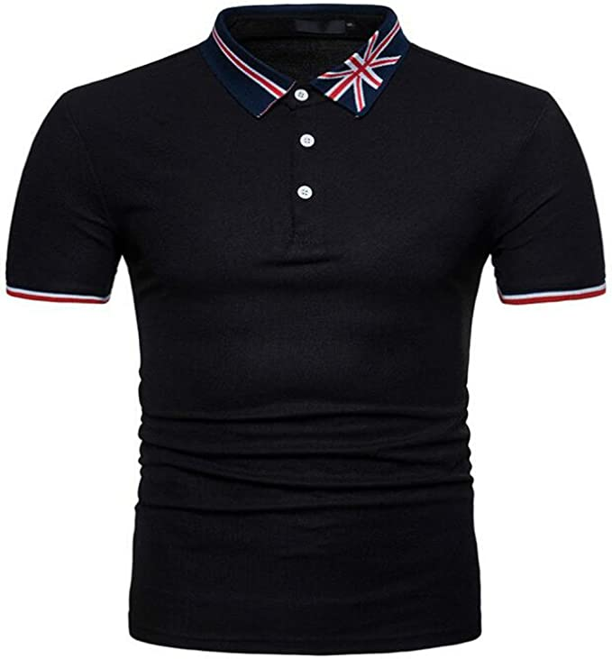New Mens Stylish Slim Fit Short Sleeve Casual Polo Shirts T-shirt Tee Casual Top