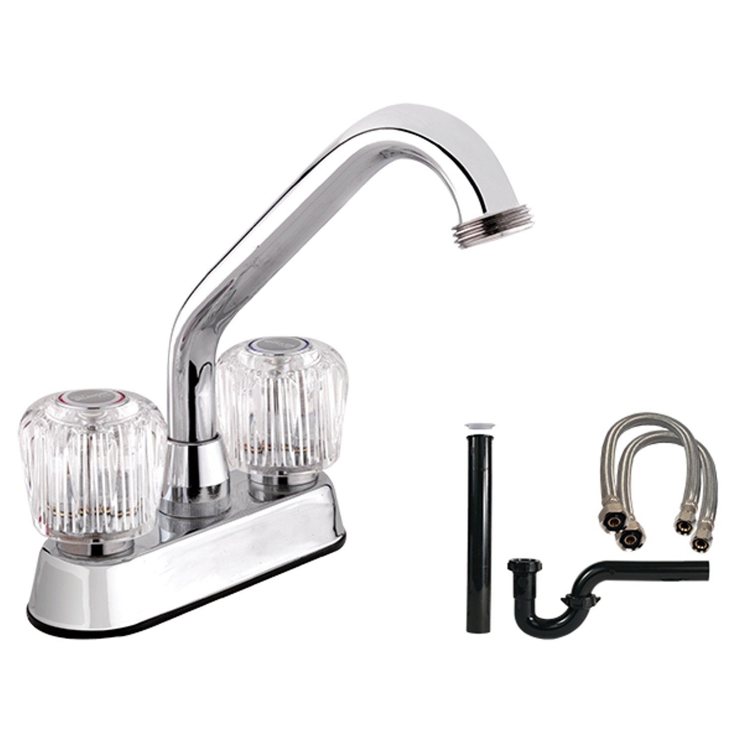 Belanger 2940WKIT Laundry Tub Faucet with Complete Installation Kit with Dual Round Acrylic Handles, Polished Chrome