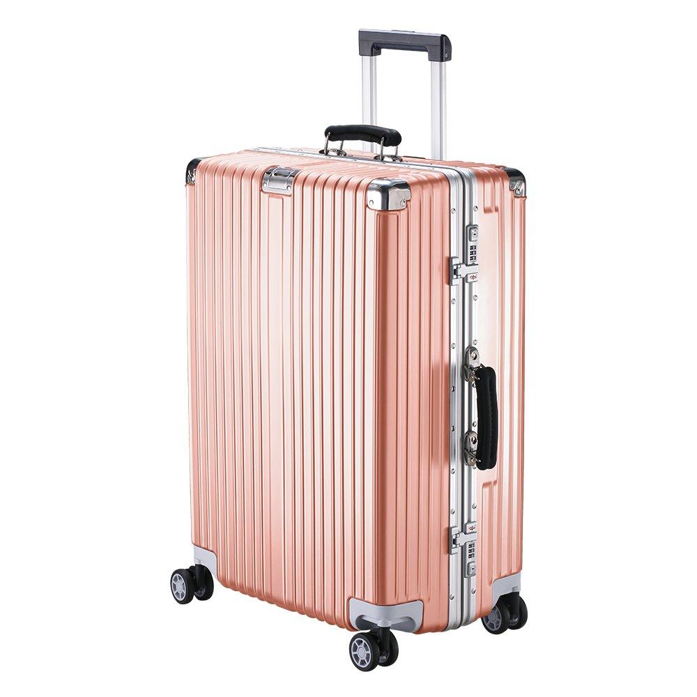 XZY スーツケース キャリーケース 無段階調節 TSAロック搭載 8輪360度 荷崩れを防ぐ Sサイズが機内持ち可 B077YKQP2Y L|ローズゴールド ローズゴールド L