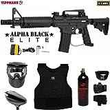 Tippmann U.S. Army Alpha Black Elite Tactical Beginner Protective CO2 Paintball Gun Package
