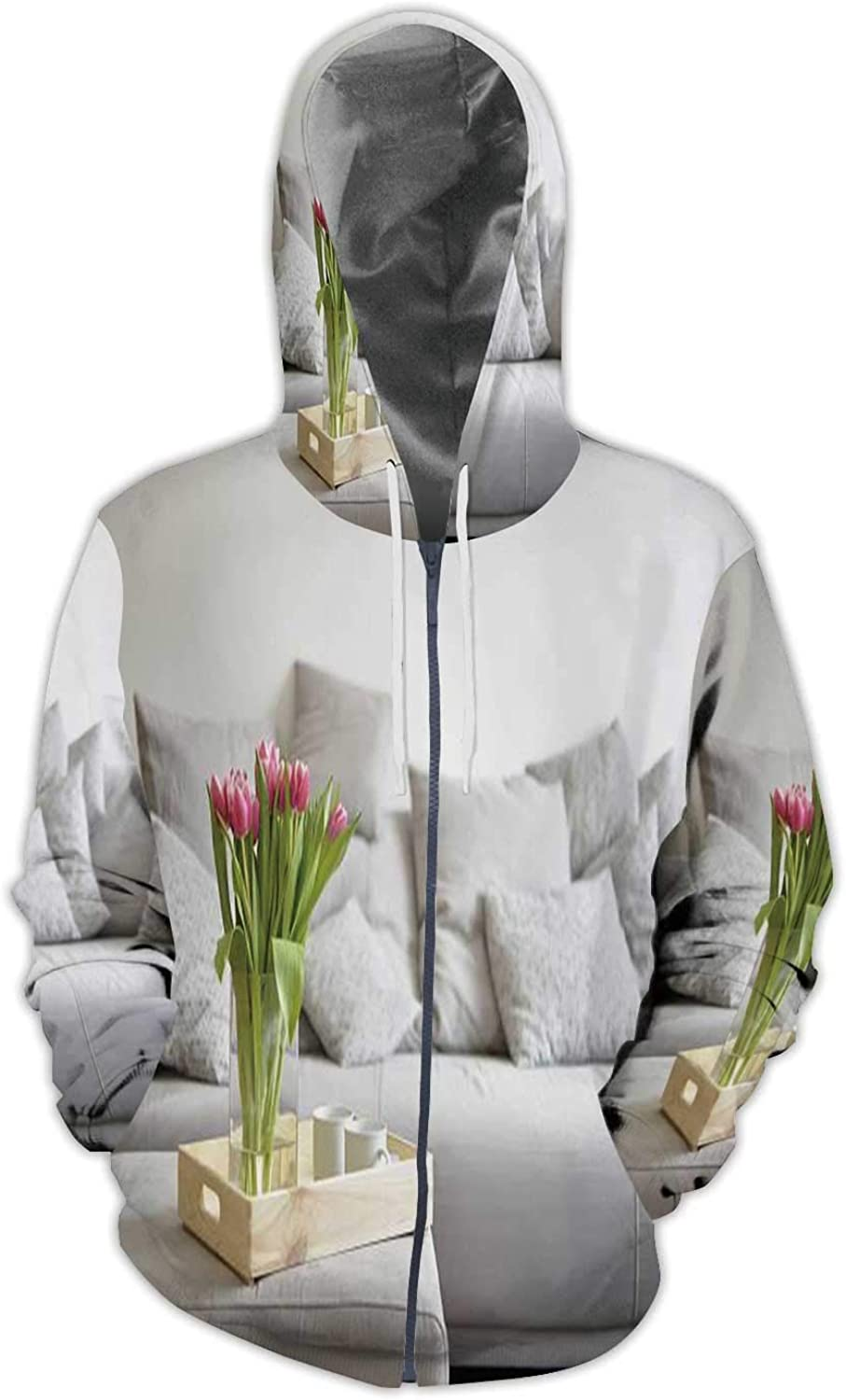Bouquet of Tulips on a Tray and in The Background USA,Ladies Full Zip Fleece with Pocket Sofa S
