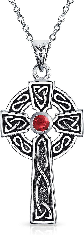 Amor Irlandés Nudo Celta Rojo Granate Trinidad Cruz Colgante Collar Plata Esterlina 925 Mujer Enero Piedra Nacimiento