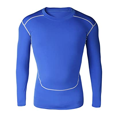 1Bests Men's Sports Running Basketball Long Sleeve Tight Tops & Tees Elasticity Compression Fitness Quick Drying Shirts