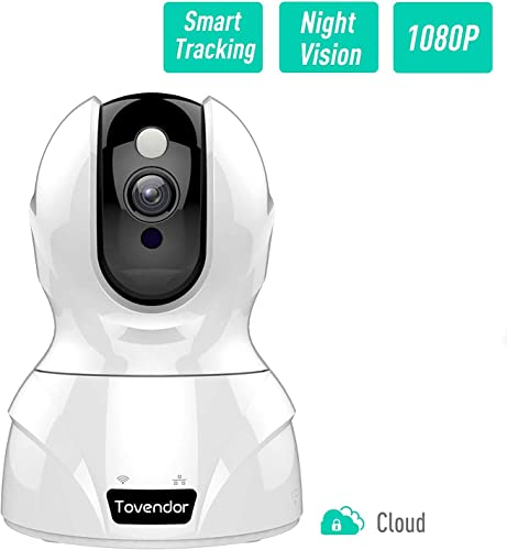 Security Camera 1080P Dog Camera, Tovendor Wireless Home Camera, Wifi Baby Monitor with Cloud Storage, Pan Tilt Zoom, Two-Way Audio, Motion Detection, Night Vision – Compatible with Alexa