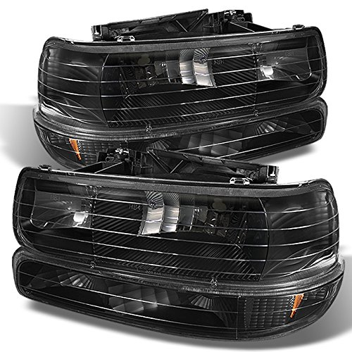 - Black 99-02 Sivlerado 00-06 Suburban Tahoe Headlights Lamps + Bumper Signal Lamps 4 Pieces Set