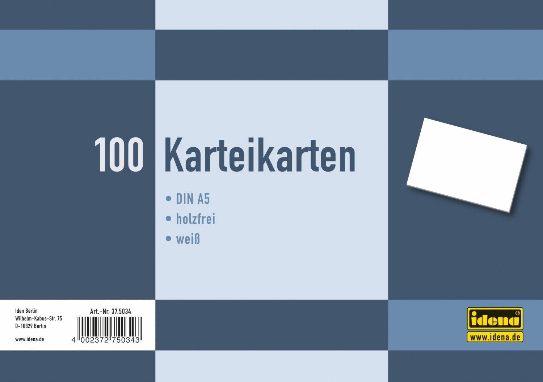 formato DIN A5 Cartoncini a righe per schedario Idena 375035 bianco confezione da 100 pezzi