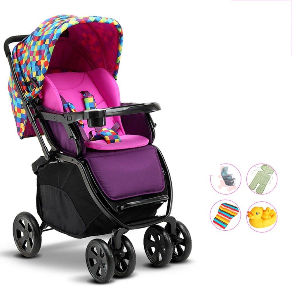 HAIZHEN マウンテンバイク 赤ちゃんのベビーカー、軽量折りたたみ四輪車、サスペンション、座ることができ、嘘つき、半ライクラコットンの日よけ 新生児 B07C6V9L9T B1 B1