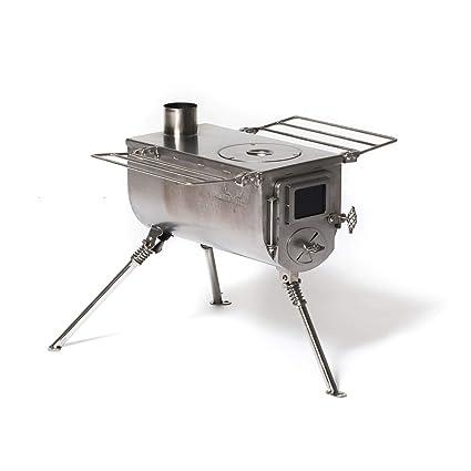 Estufa de carpa grande Winnerwell Woodlander | Estufa de leña portátil para tiendas de campaña,