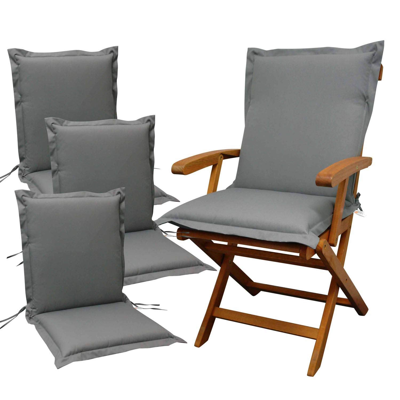 Indoba 4 x Sitzauflage Niederlehner Premium Polsterauflage Grau