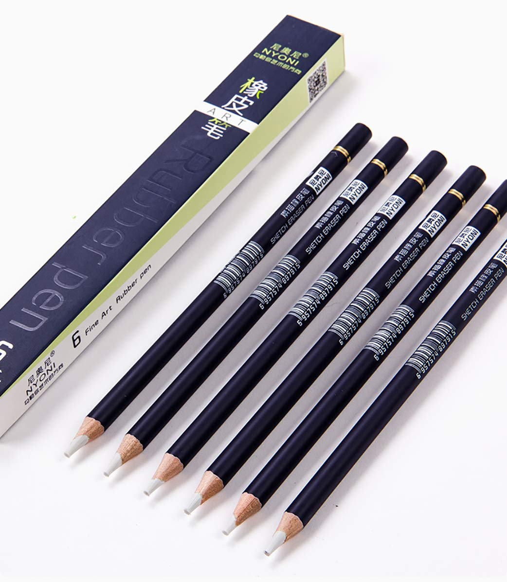 Sketch Eraser Pen-Style Erasers Pen Shape Eraser Highlight Erasers Erasers pen Rubber Pen 6 Pack by Kachikawa (Image #1)