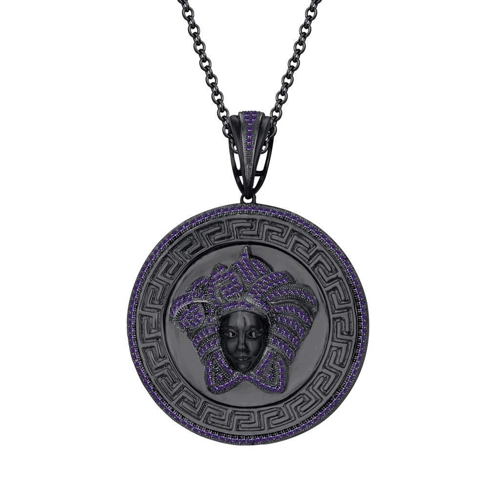 Dividiamonds 1.25Ct Round Cut CZ Diamond Medusa Head Pendant 18 Chain in 14K Black Gold Plated Sterling