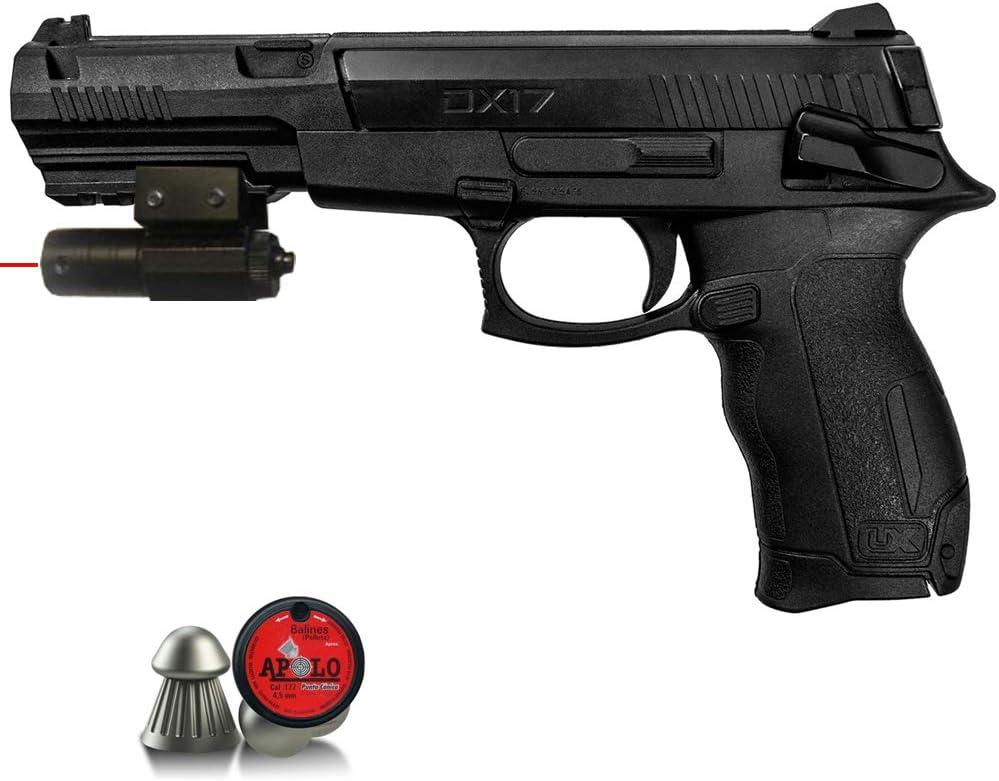 Umarex DX17 | Pack Pistola de balines (perdigones o Bolas de Acero BB's). Arma de Aire comprimido. Muelle. Calibre 4,5mm <3,5J