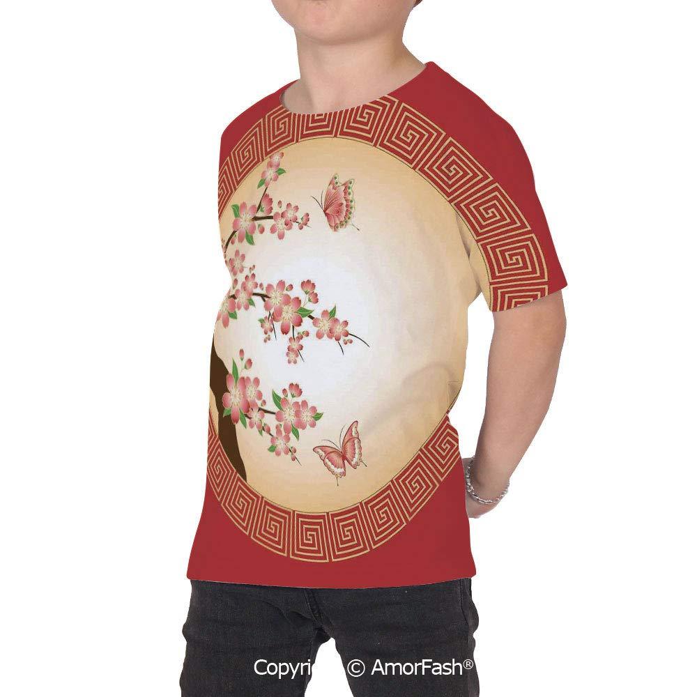 PUTIEN House Decor Girls Short-Sleeve Midweight T-Shirt,Polyester,Oriental Cherry Bloss