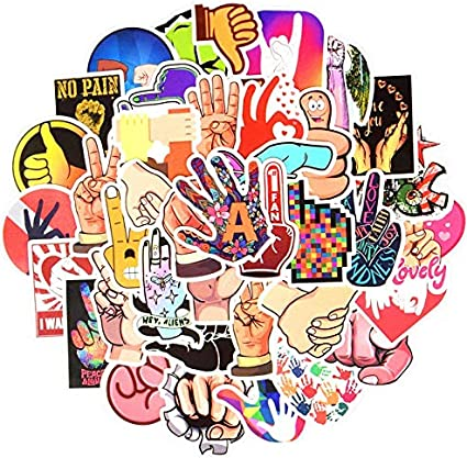 Gesture Cartoon Sticker Pack Instagram Style Finger Sign Kawaii Funny Waterproof Stickers Kids Toy For DIY Laptop Bicycle 50 Pcs: Amazon.es: Coche y moto