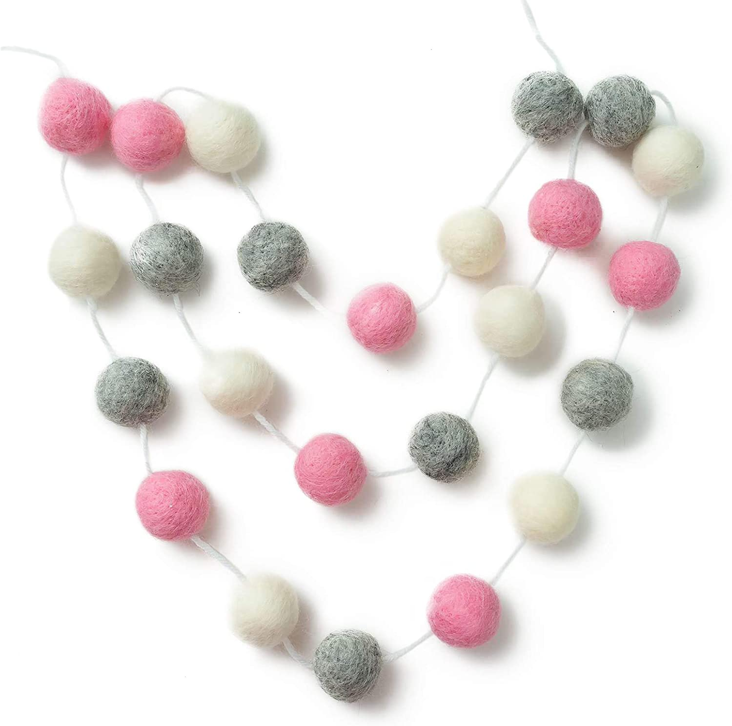 HEYNOVA Wool Felt Garland Pom Pom Balls, 24 Cute Wool Felt Balls with Rope, Indoor Party Accessories and Christmas Decorations, Bright and Colorful Home Décor – Pink