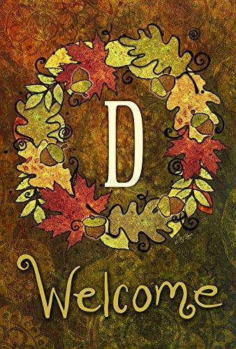 Toland Home Garden Fall Wreath Monogram D 28 x 40 Inch Decor