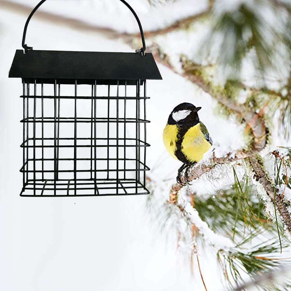 Qiekenao - Comedero de pájaros de alambre cuadrado para colgar en metal con fideos cúbicos y jaula de alimentos para pájaros
