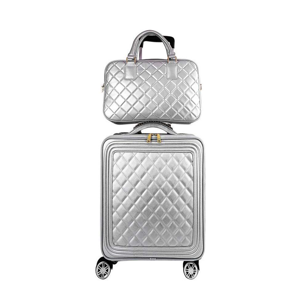 実用的なスーツケース スーツケース、トロリーケースシルバートラベルバッグファッションスーツケース防水女性大容量サイレント360°ホイールフィット16-24インチ荷物ホールドオールバッグ搭乗シャーシ (色 : A, サイズ : 42*20*50cm) B07T62MPNR A 42*20*50cm