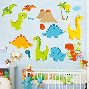 Cute Cartoon Dinosaur Wall Decals, Peel and Stick Colorful Wall Art Mural for Kids Bedroom,Nursery, Classroom & More,17.7 x23.6inch