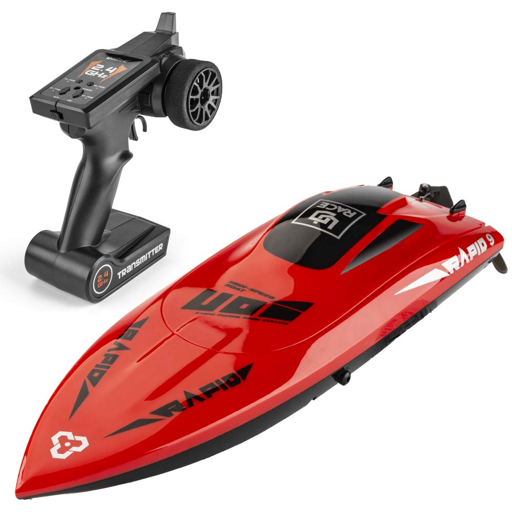RC Boats for Kids and Adults, 30+KM/H High Speed RC Boats for Lakes, Rivers and Pools, 2.4GHz Remote Control Toy Boats, self-righting Waterproof Remote Control Electric Boats, Included Two Batteries