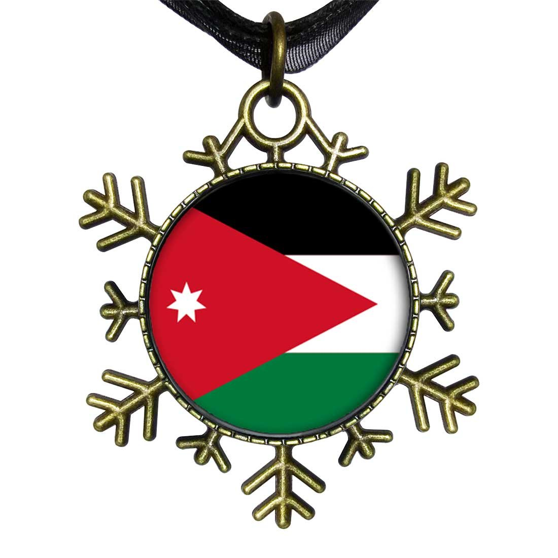 GiftJewelryShop Bronze Retro Style Jordan flag Snowflake Charm Pendant Necklace
