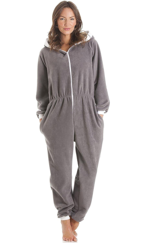 Camille Womens Soft Fleece Hooded Grey Zip up Onesie