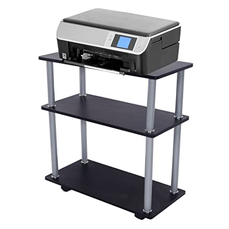FCH Mobile Utility Cart Black Computer Printer Stand Home Office Rolling  Cart With 4 Wheelsu0026Shelves