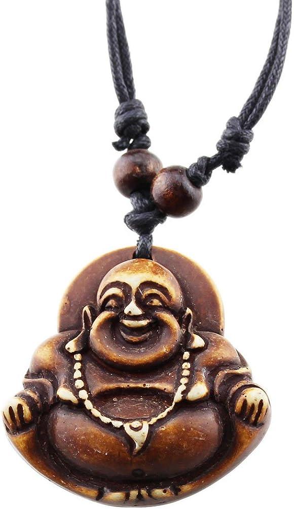 Happy Face Buddha Amulet Evil Eye Protection Tiger Eye Black Agate Pendant Necklace
