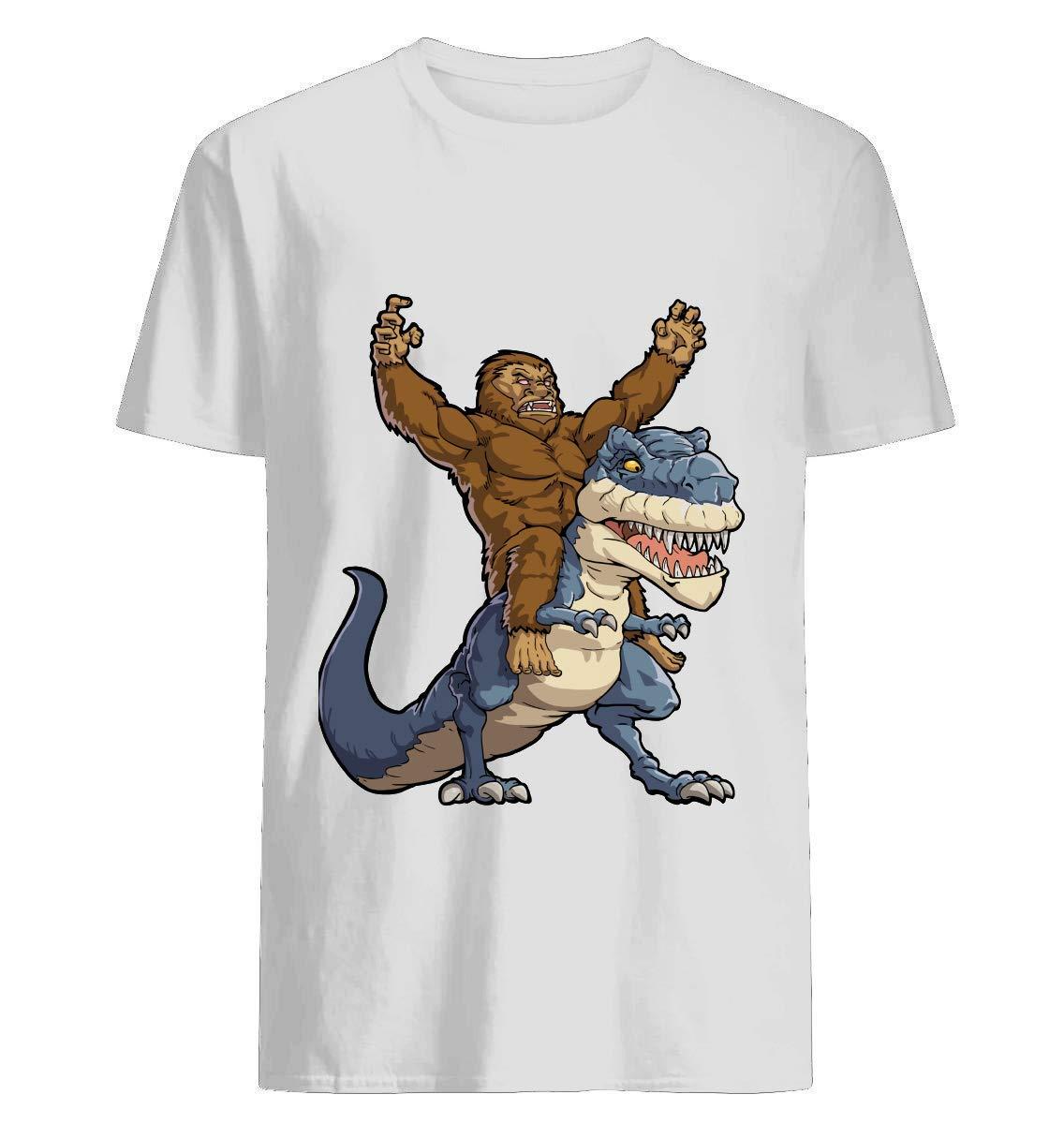 Sasquatch Riding T Rex Tyrannosaurus Dinosaur T Shirt Funny Monster Gift T Shirt H