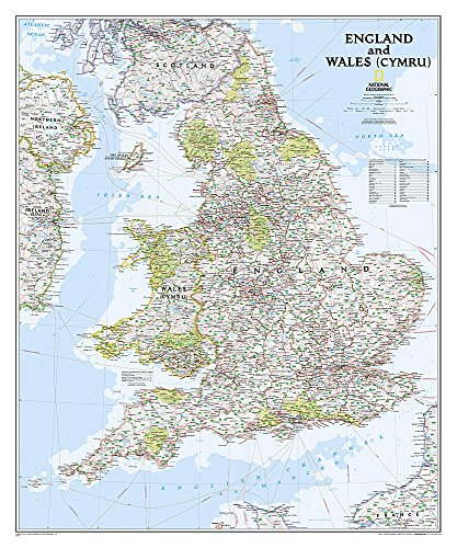 National Geographic: England and Wales Classic Wall Map - Laminated (30 x 36 inches) (National...