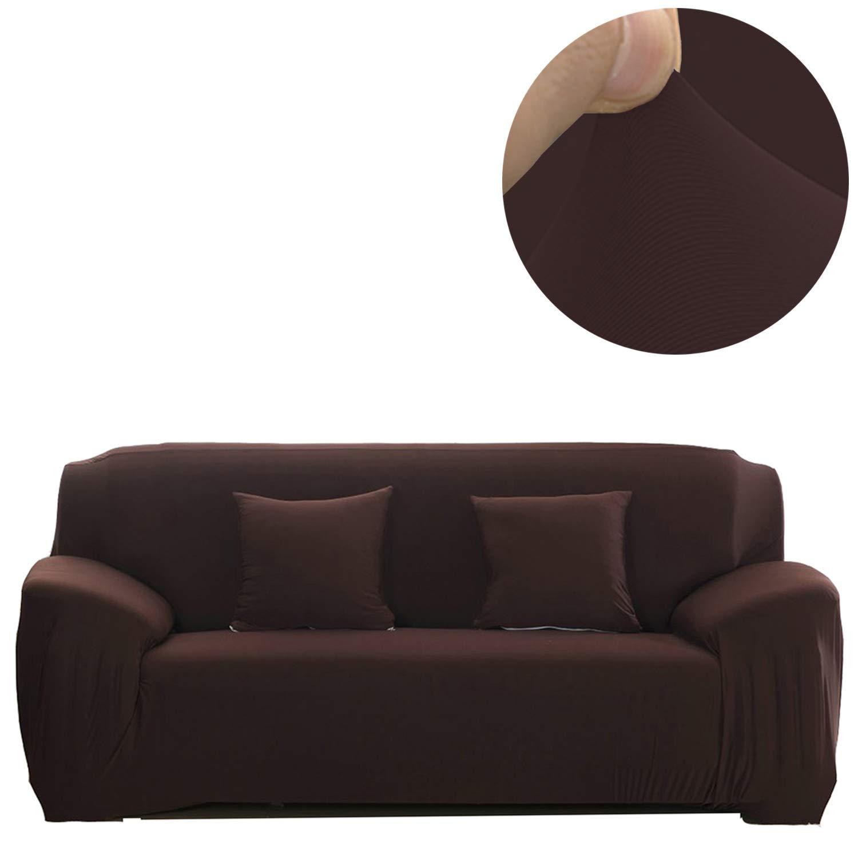 ANJUREN (アンジュレン) ポリエステルスパンデックスファブリック 1ピースストレッチスリップカバー 椅子/ラブシートソファ用 ピローは付属しません 4 Seater Sofa ブラウン USA02135 4 Seater Sofa コーヒー B075S1YJWY