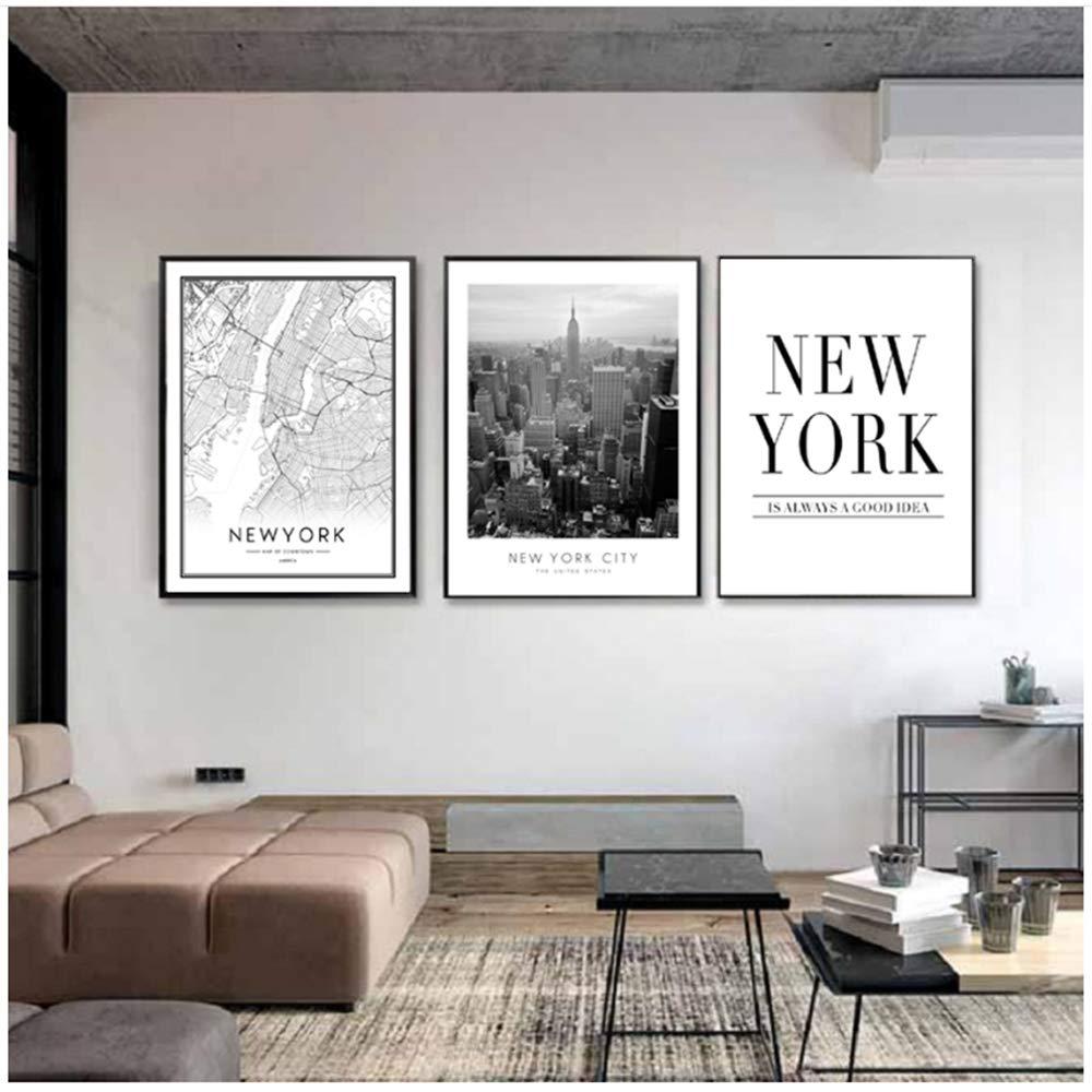 wttfbh Set di 3 Pezzi di Tela Wall Art in Stile Americano Mappa della Citt/à di New York Dipinti su Tela Edificio Foto Wall Art Quadri Poster E Stampe per Soggiorno Decorazioni per La Casa 40 60 Cm