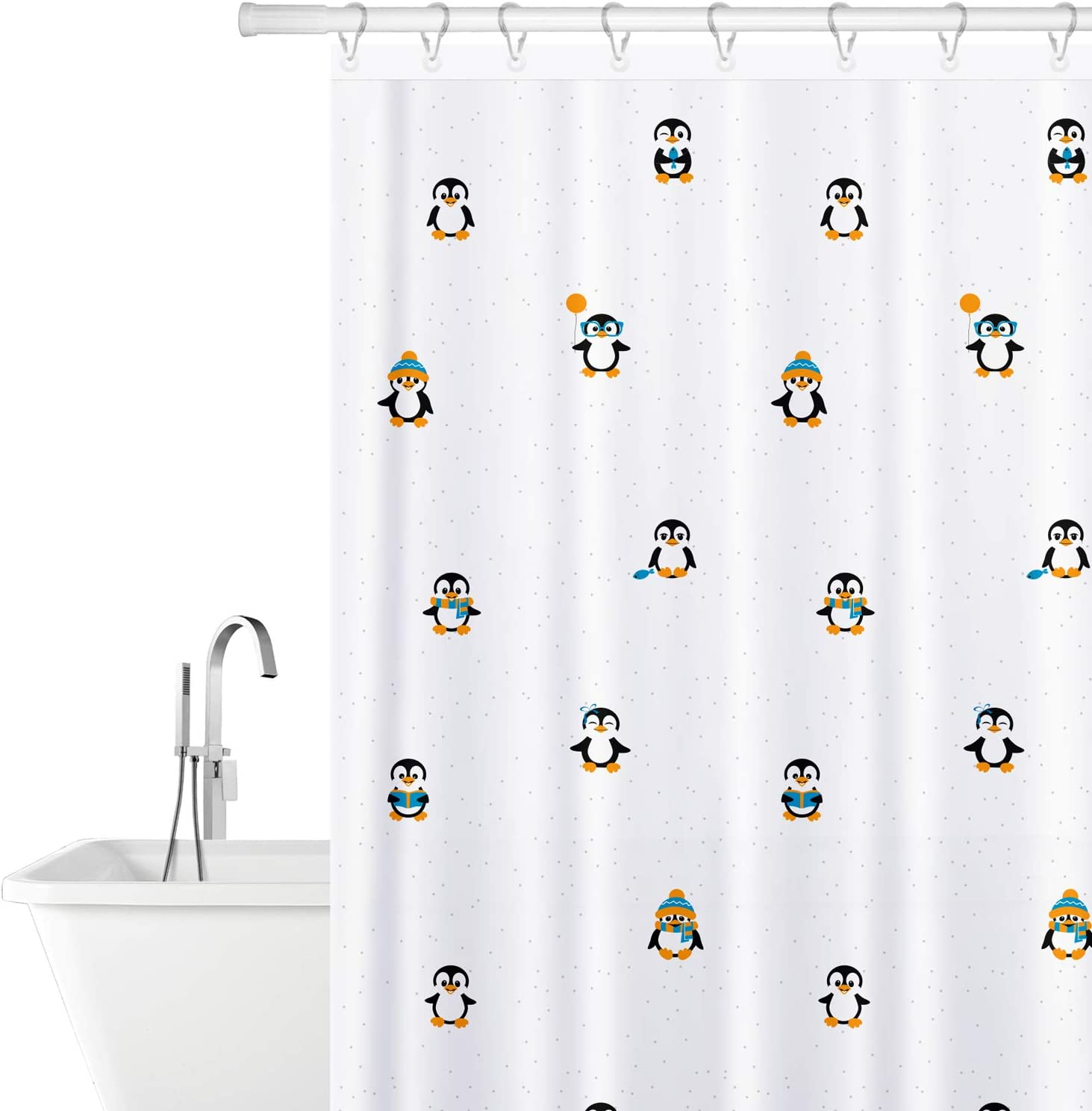 Tatkraft Funny Penguins Polyester Fabric Shower Curtain Mildew-Free Waterproof 180X180cm 12 Shower Rings Included, Unique Bright Design