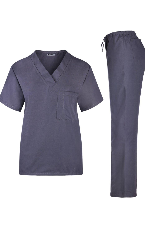 MedPro Women's Unisex Solid Medical Scrub Set V-Neck Top Cargo Pants Steel M