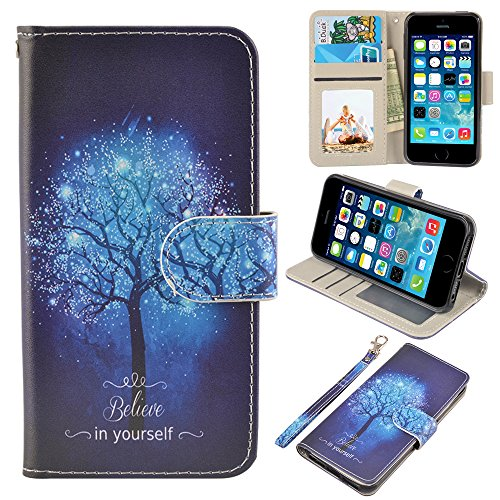 iPhone 5/5s/SE Case, UrSpeedtekLive iPhone 5/5s/SE Wallet Case, Premium PU Leather Wristlet Flip Case Cover with Card Slots & Stand for iPhone 5/5s/SE, Believe in yourself