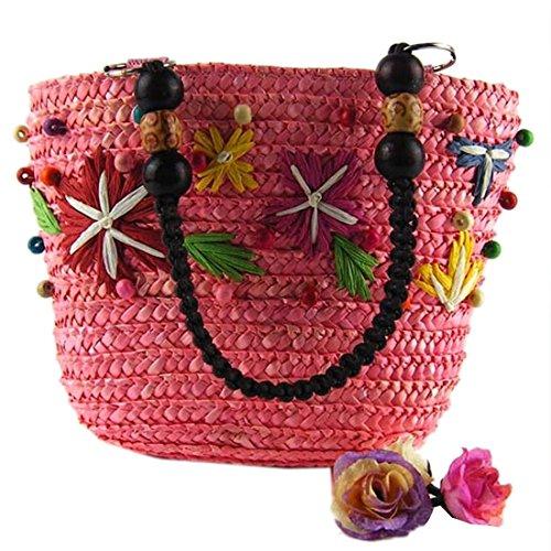 Color De Del Bolsa Informal rosa Mujeres Compras Tejido Asas El Verano QIYUN Bolsos Hombro Z De Del De Caramelo 74wEn8Yx
