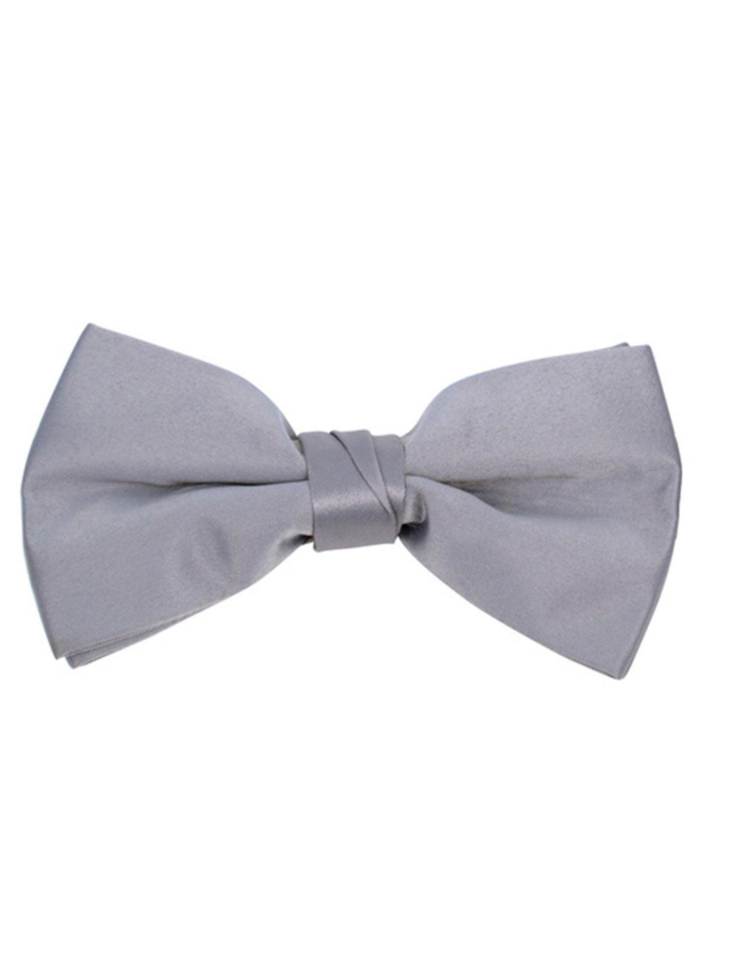 Young Boy's Gray Pre-tied Adjustable Length Bow Tie - Formal Tuxedo Solid Color