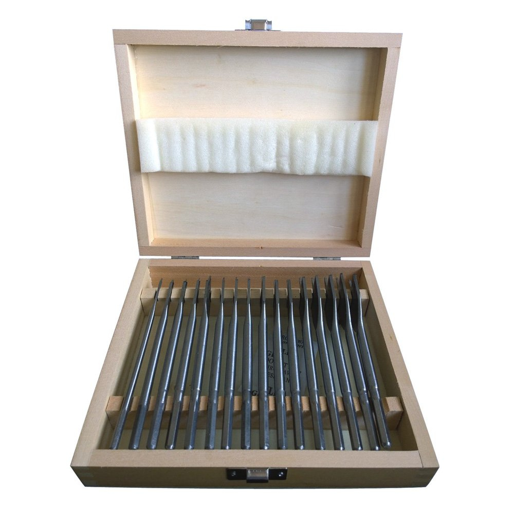 16 Piece Flat Wood Drill Bit Set with Wooden Storage Case Tooltime