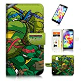 ninja turtle cases for galaxy s5 - (For Samsung S5, Galaxy S5) Flip Wallet Case Cover & Screen Protector Bundle - A21355 TMNT Ninja Turtle
