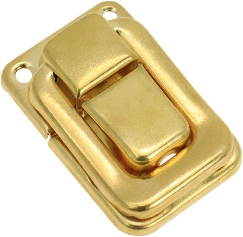 Geesatis 30 Pcs Gold Chest Latches Lock Vintage Box Hasps Clasp Buckle with Mounting Screws